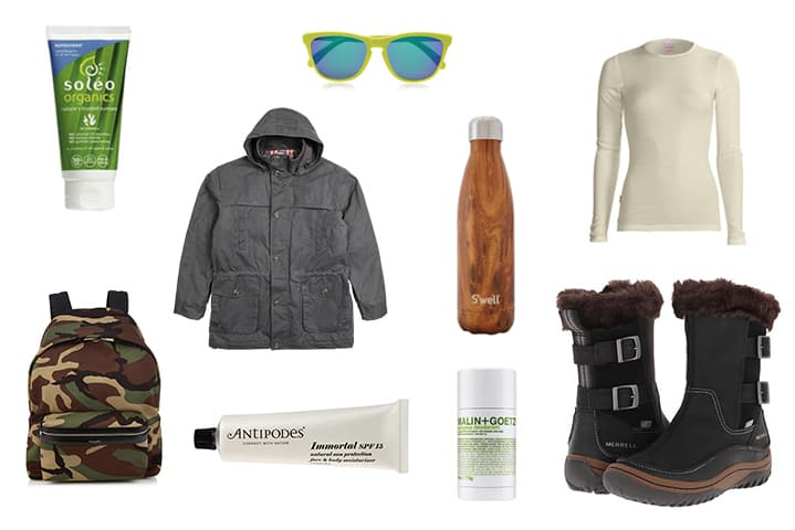 Soleo Organic Sunscreen ,  drizabone barkly field coat ,  Icebreaker Merino tech top long sleeve crew neck ,  Merrell Decora Chant Boots ,  Malin + Goetz Eucalyptus Deodorant ,  Antipodes IMMORTAL face & BODY moisturiser , saint laurant hunter backpack , oakley frogskins d-frame sunglasse s, s'well teakwood water bottle