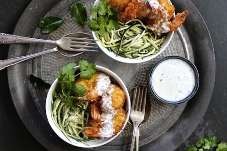 coconut crusted prawns with zoodles