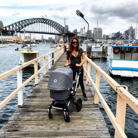 sigourney and lulu enjoying a stroll with the bugaboo pram
